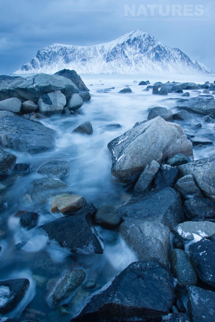 A rocky winters beach - photographed during a Winter in Lofoten Photography Holiday