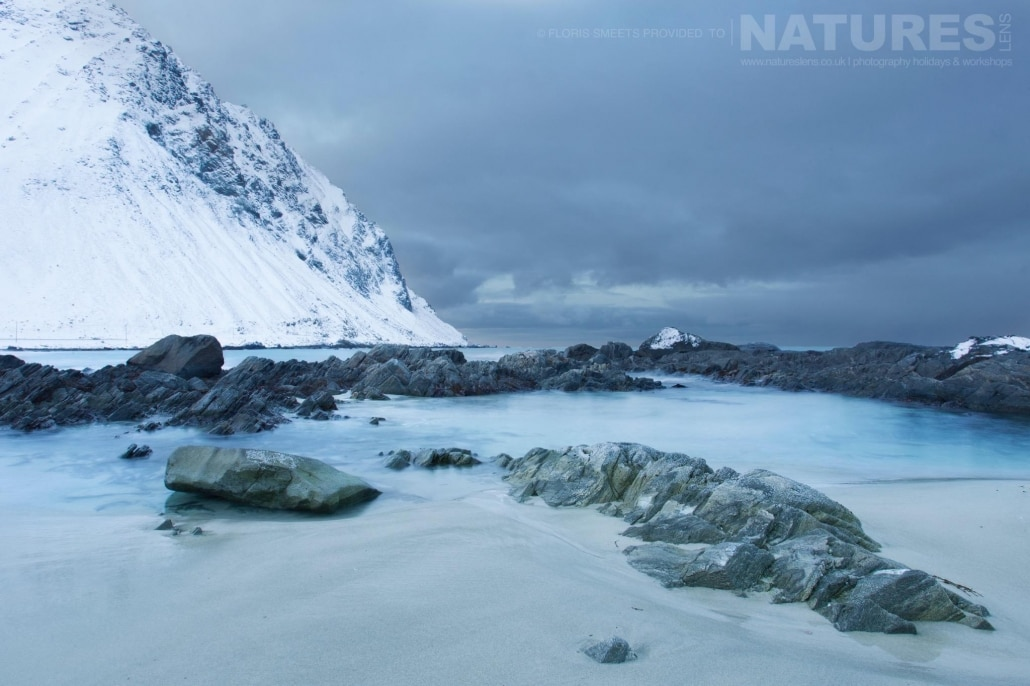 A view of Utakleiv beach in Winter - photographed during a Winter in Lofoten Photography Holiday