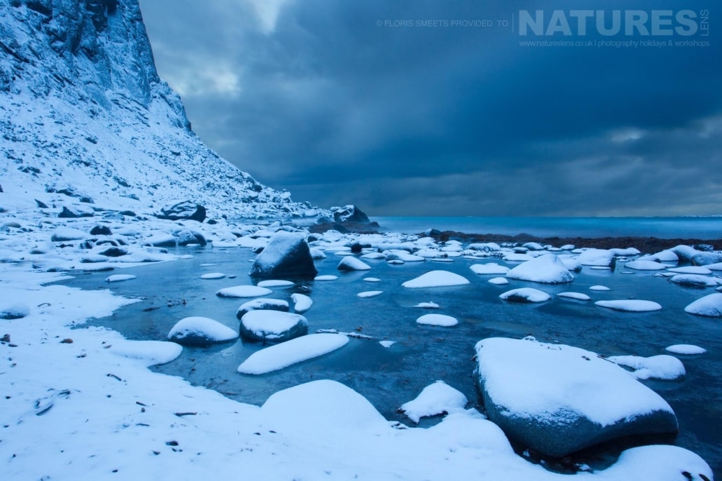 Another view of Utakleiv beach in Winter - photographed during a Winter in Lofoten Photography Holiday