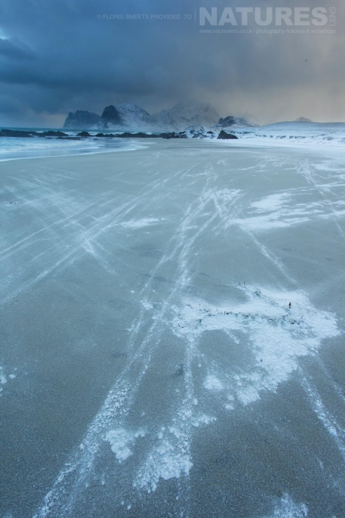 One of Lofoten's sandy beaches photographed during winter - photographed during a Winter in Lofoten Photography Holiday