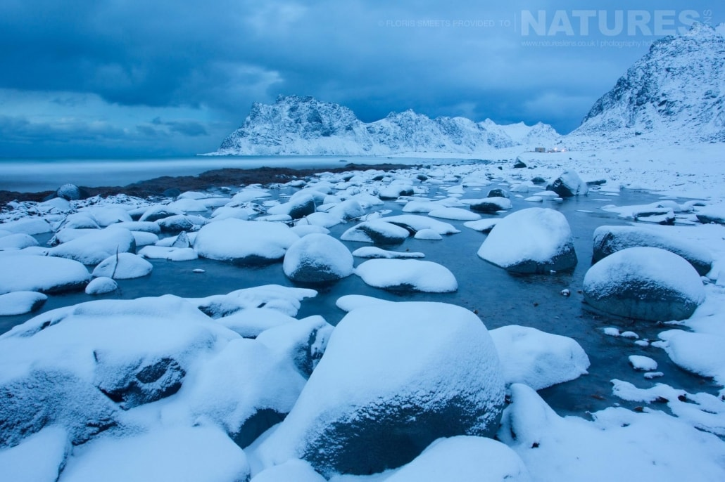 Utakleiv beach in Winter - photographed during a Winter in Lofoten Photography Holiday