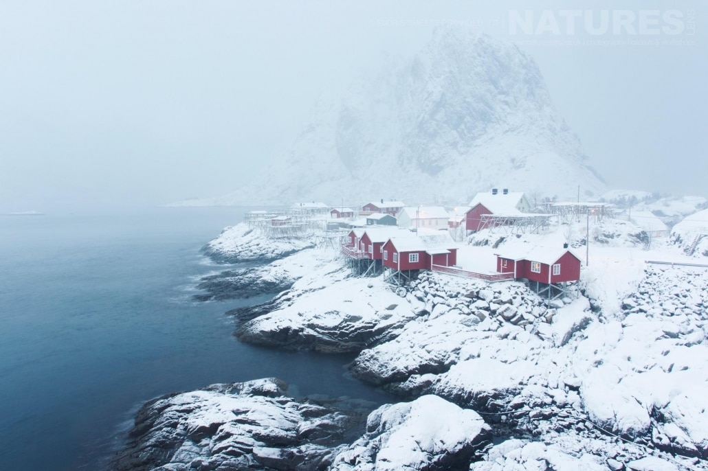 The red houses the are so well known to Lofoten - photographed during a Winter in Lofoten Photography Holiday