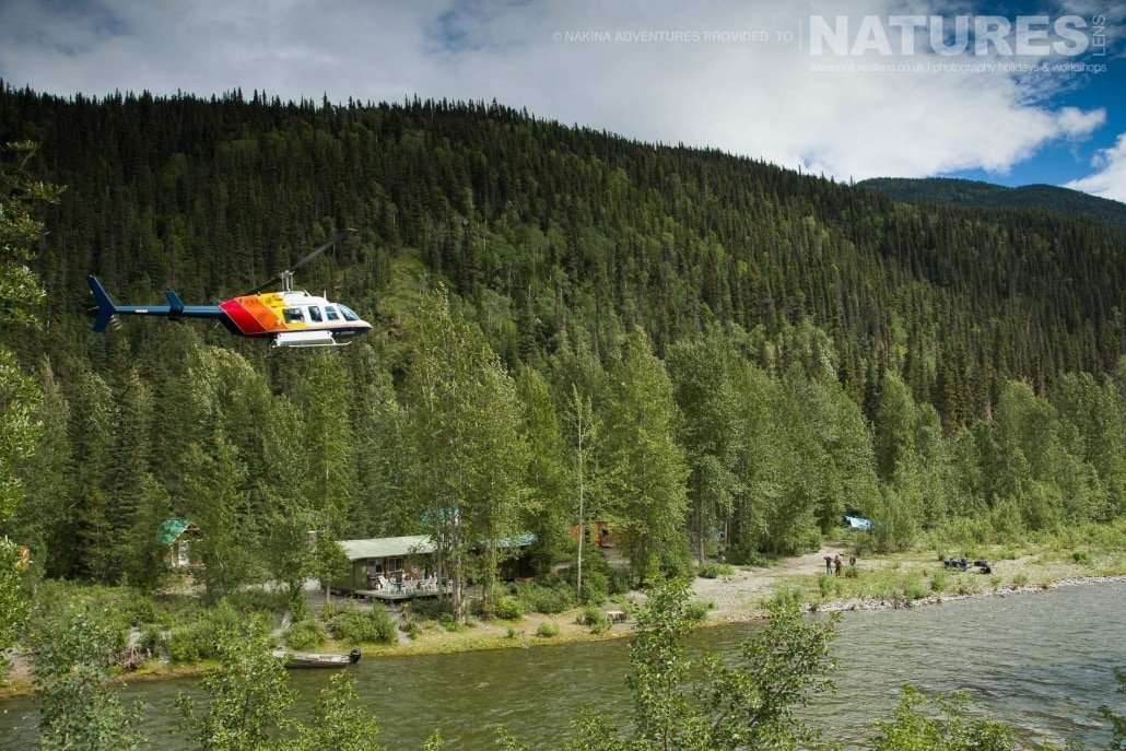 Our camp is so remote, that we fly in by helicopter - just part of the experience on the NaturesLens Grizzly Bears of British Columbia Photography Holiday