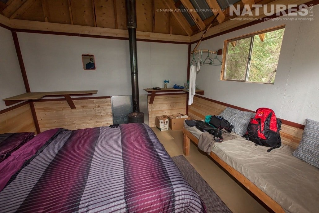 The cabins that make up the camp border the Taku river in British Columbia, whilst they are basic, they are clean & comfortable - accomodation for the NaturesLens Grizzly Bears of British Columbia Photography Holiday