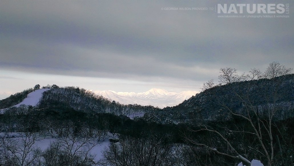 The mountainous landscape of Hokkaido in Winter captured NaturesLens during the Winter Wildlife of Japan Photography Holiday