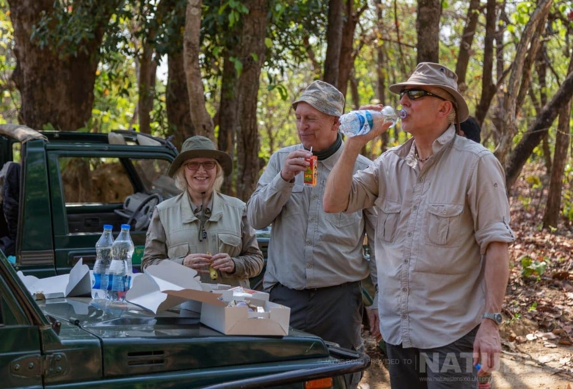 Some of the group who have stopped for breakfast at centre point within the reserve photographed during the NaturesLens India's Bengal Tigers of Bandhavgarh Photography Holiday