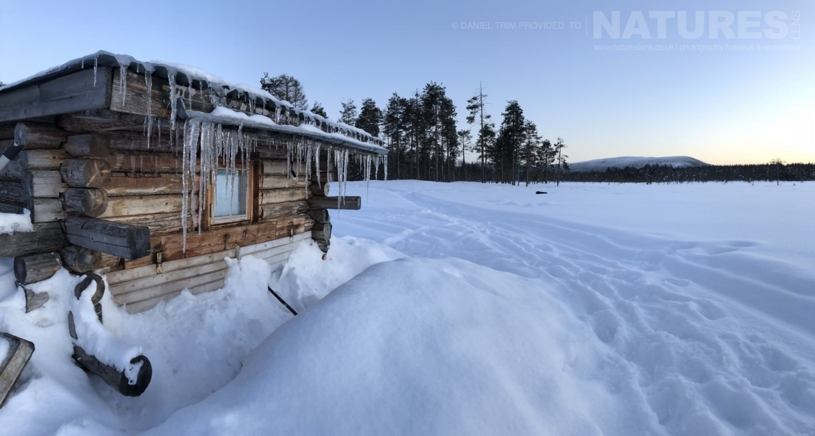 One Of The Photography Hides, Nestled In The Snowy Landscape   Photographed During The Golden Eagles Of The Swedish Winter Photography Holiday