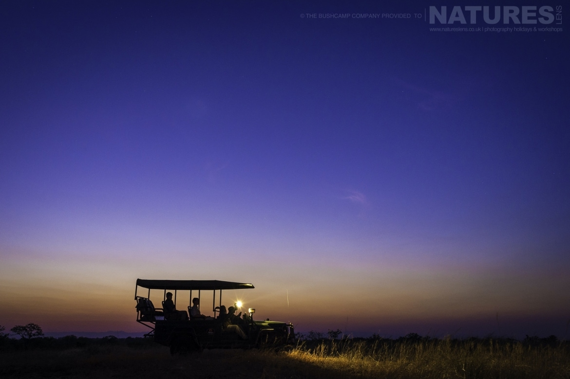 A game drive within the South Luangwa National Park after dark