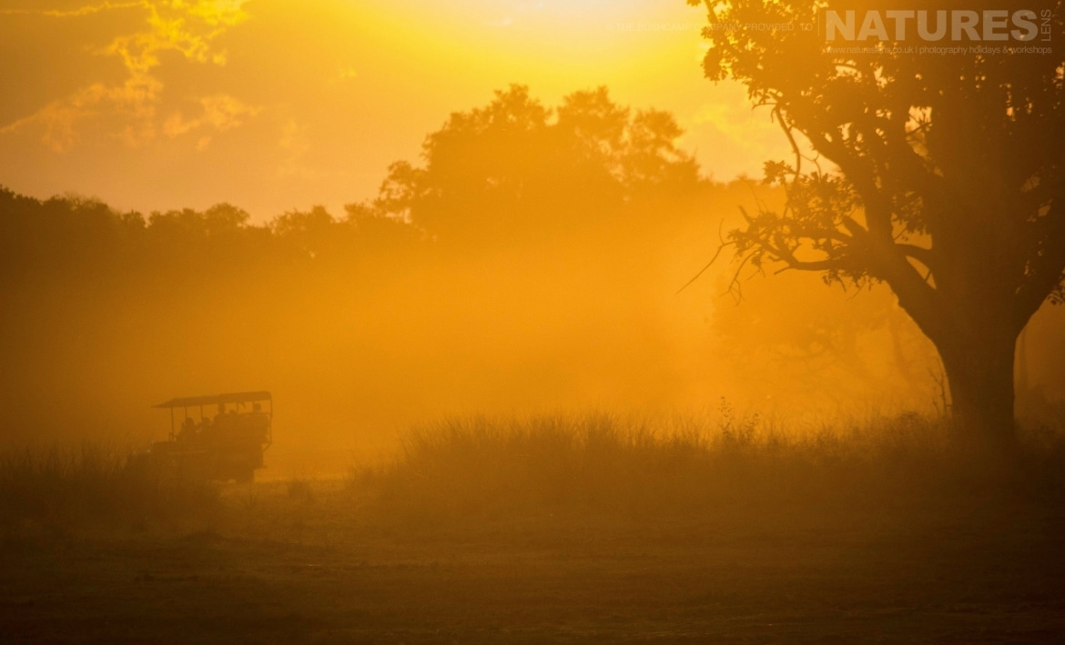A game drive within the South Luangwa National Park as the sun sets